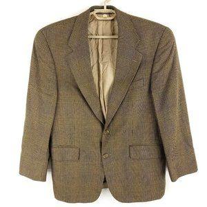 Ralph Lauren Chaps Brown Wool Glen Plaid Two Button Blazer Jacket Mens 40S